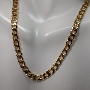 Wide Gold Tone Avon Signed Chunky Chain Necklace